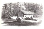 Chinookan Lodge and Canoes. James G. Swan, ca. 1851